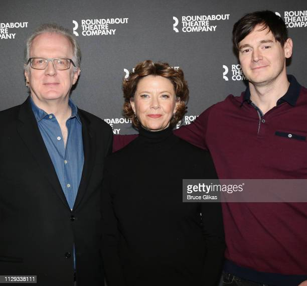 Tracy Letts Annette Bening and Benjamin Walker pose at a photo call for the Roundabout Theatre Company production of Arthur Miller's 'All My Sons' on...
