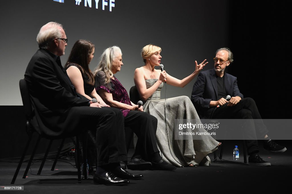 Tracy Letts, Beanie Feldstein, Lois Smith, Greta Gerwig, and Kent Jones onstage during 55th New York Film Festival screening of 'Lady Bird' at Alice Tully Hall on October 8, 2017 in New York City.