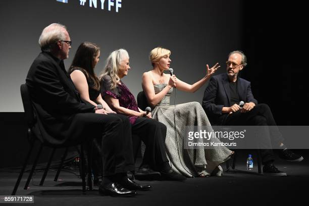 Tracy Letts Beanie Feldstein Lois Smith Greta Gerwig and Kent Jones onstage during 55th New York Film Festival screening of 'Lady Bird' at Alice...