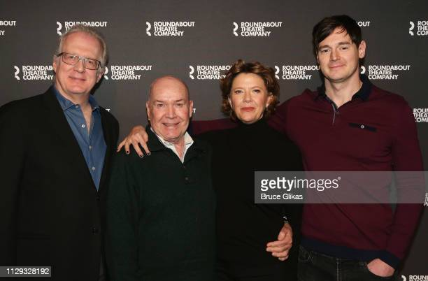 Tracy Letts Director Jack O'Brien Annette Bening and Benjamin Walker pose at a photo call for the Roundabout Theatre Company production of Arthur...