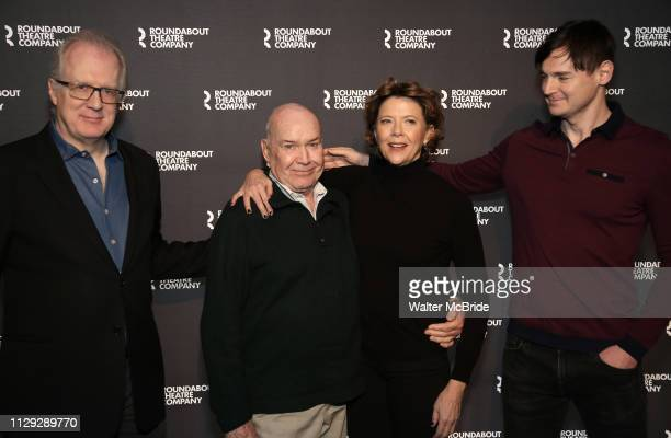Tracy Letts Jack O'Brien Annette Bening and Benjamin Walker attend the 'All My Sons' cast photo call at the American Airlines Theatre on March 8 2019...