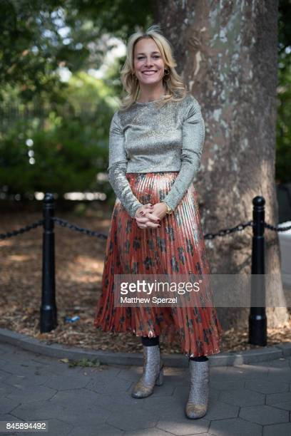 Tracy Margolies is seen attending Lela Rose during New York Fashion Week wearing Dries van Noten Suno on September 11 2017 in New York City