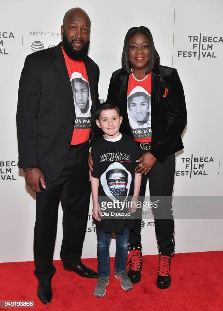 Tracy Martin and Sybrina Fulton attend the 'Rest In Power The Trayvon Martin Story' premiere during the 2018 Tribeca Film Festival at BMCC Tribeca...