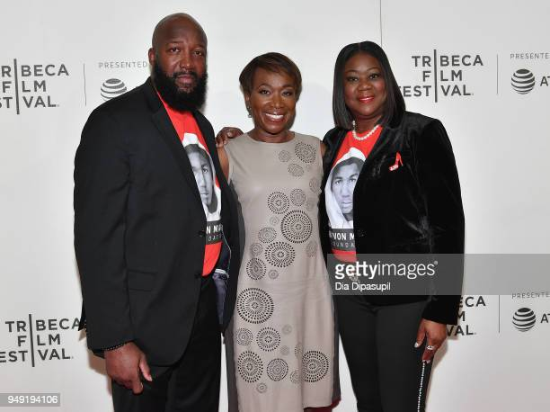 Tracy Martin Joy Reid and Sybrina Fulton attend the 'Rest In Power The Trayvon Martin Story' premiere during the 2018 Tribeca Film Festival at BMCC...