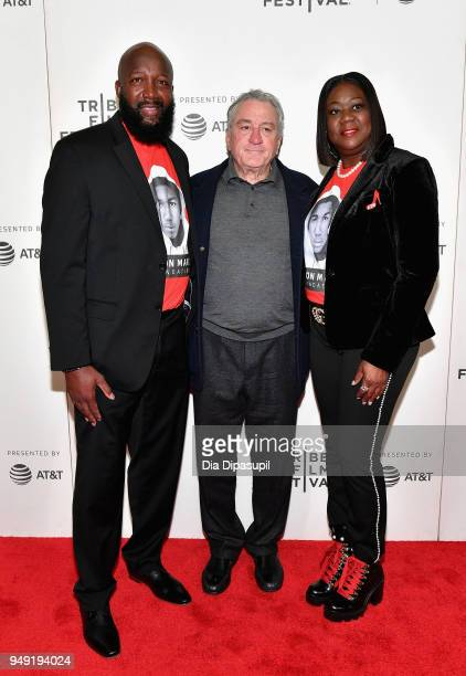 Tracy Martin Robert De Niro and Sybrina Fulton attend the 'Rest In Power The Trayvon Martin Story' premiere during the 2018 Tribeca Film Festival at...