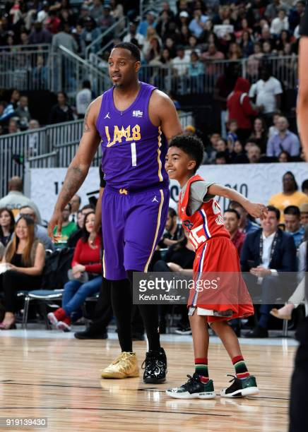 Tracy McGrady and Miles Brown play during the NBA AllStar Celebrity Game 2018 presented by Ruffles at Verizon Up Arena at LACC on February 16 2018 in...
