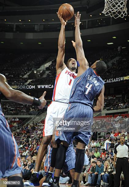Tracy McGrady of the Detroit Pistons drives to the basket during a game against the Charlotte Bobcats on November 5 2010 at The Palace of Auburn...