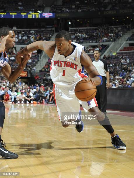 Tracy McGrady of the Detroit Pistons handles the ball during a game against the Charlotte Bobcats on November 5 2010 at The Palace of Auburn Hills in...