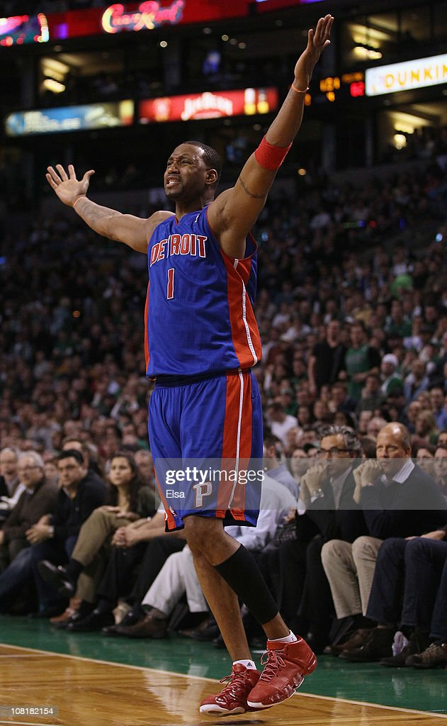 Tracy McGrady #1 of the Detroit Pistons reacts after he misses a shot and no foul was called against the Boston Celtics during the final minutes of the game on January 19, 2011 at the TD Garden in Boston, Massachusetts. The Celtics defeated the Pistons 86-82.
