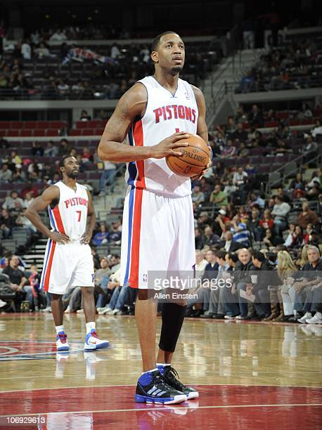 Tracy McGrady of the Detroit Pistons stands at the free throw line during a game against the Charlotte Bobcats on November 5 2010 at The Palace of...