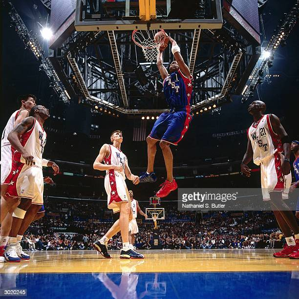 Tracy McGrady of the Eastern Conference AllStars dunks against the Western Conference AllStars during the 2004 AllStar Game on February 15 2004 at...