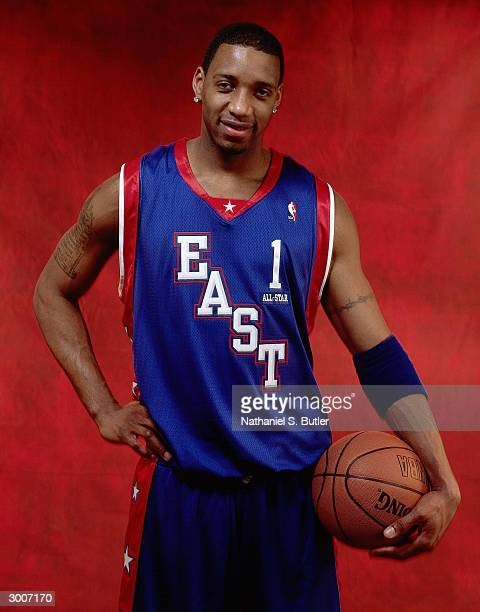 Tracy McGrady of the Eastern Conference AllStars poses for a portrait on February 15 2004 at Staples Center in Los Angeles California NOTE TO USER...