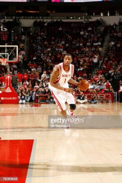 Tracy McGrady of the Houston Rockets dribbles the ball on January 27 2008 at the Toyota Center in Houston Texas NOTE TO USER User expressly...