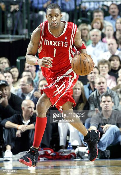 Tracy McGrady of the Houston Rockets drives against the Dallas Mavericks in Game five of the Western Conference Quarterfinals during the 2005 NBA...