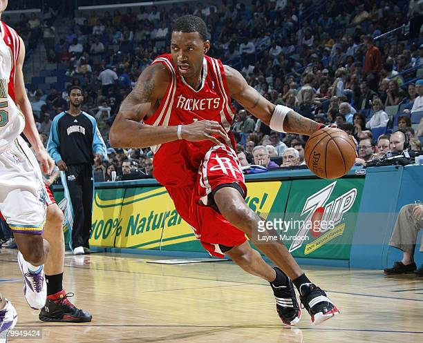 Tracy McGrady of the Houston Rockets drives against the New Orleans Hornets at the New Orleans Arena February 22 2008 in New Orleans Louisiana NOTE...