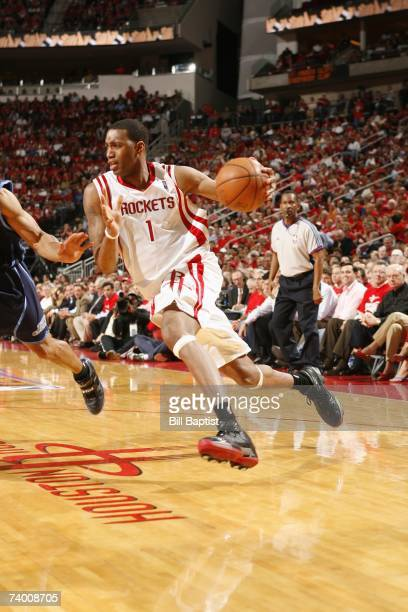 Tracy McGrady of the Houston Rockets drives to the basket against the Utah Jazz in Game Two of the Western Conference Quarterfinals during the 2007...