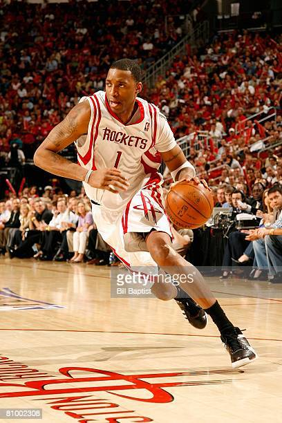 Tracy McGrady of the Houston Rockets drives to the basket in Game Five of the Western Conference Quarterfinals against the Utah Jazz during the 2008...