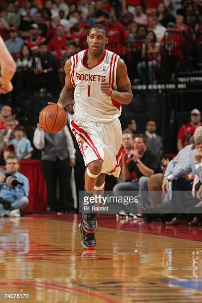 Tracy McGrady of the Houston Rockets drives upcourt in Game Five of the Western Conference Quarterfinals during the 2007 NBA Playoffs against the...