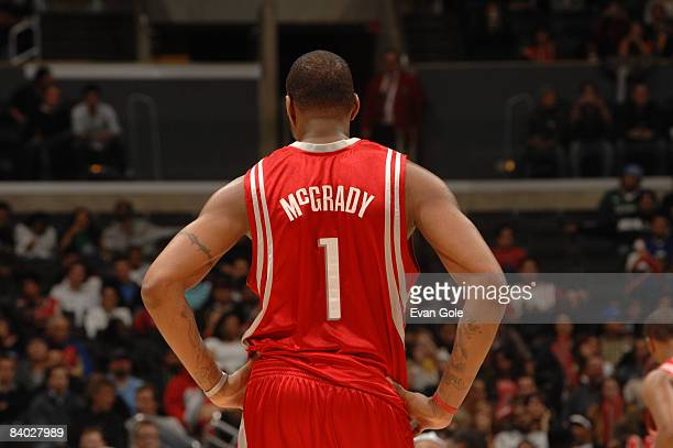Tracy McGrady of the Houston Rockets looks on during a game against the Los Angeles Clippers at Staples Center on December 13, 2008 in Los Angeles,...