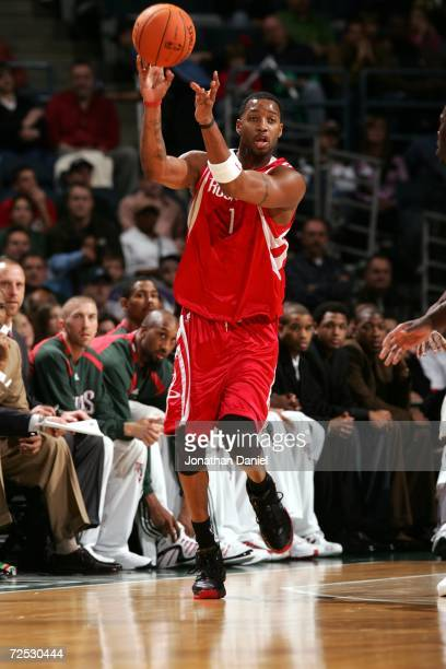 Tracy McGrady of the Houston Rockets passes the ball against the Milwaukee Bucks during the game on November 8 2006 at the Bradley Center in...