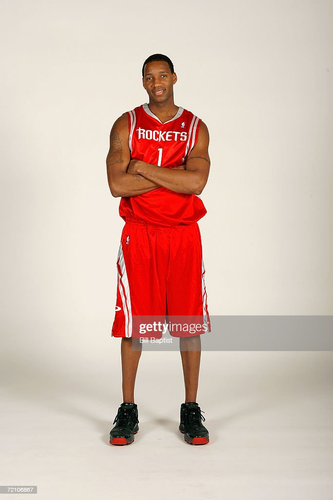 Tracy McGrady #1 of the Houston Rockets poses during NBA Media Day at the Toyota Center on October 3, 2006 in Houston, Texas.