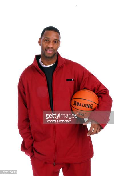 Tracy McGrady of the Houston Rockets poses for a portrait during the 2005 NBA AllStar Media Availabilty at the Westin Hotel February 18 2005 in...