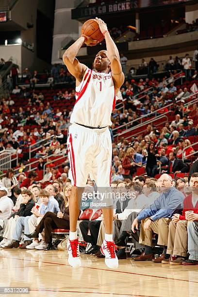 Tracy McGrady of the Houston Rockets shoots a jumper during the game against the Chicago Bulls on February 3 2009 at the Toyota Center in Houston...