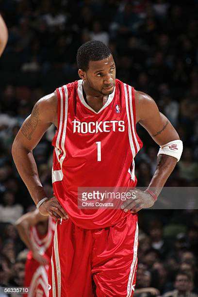 Tracy McGrady of the Houston Rockets stands on the court during the game with the San Antonio Spurs on November 17 2005 at the SBC Center in San...