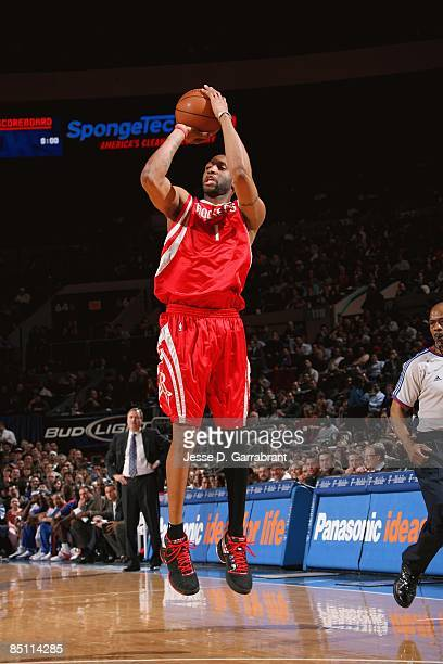 Tracy McGrady of the Houston Rockets takes a jump shot against the New York Knicks during the game on January 26 2009 at Madison Square Garden in New...