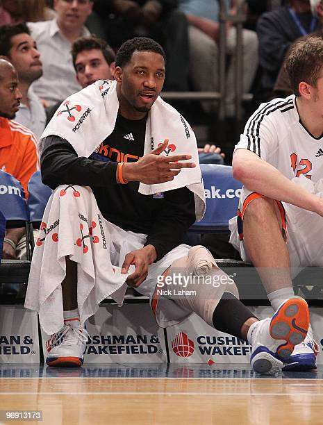 Tracy McGrady of the New York Knicks gestures against the Oklahoma City Thunder at Madison Square Garden on February 20 2010 in New York New York...