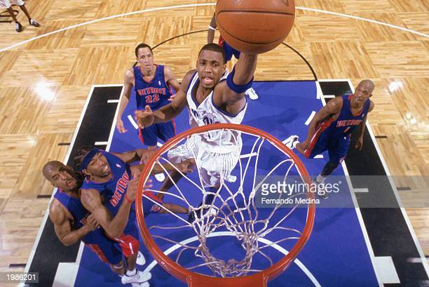 Tracy McGrady of the Orlando Magic goes to the hoop in Game 6 of the Eastern Conference Quarterfinals against the Detroit Pistons during the 2003 NBA...