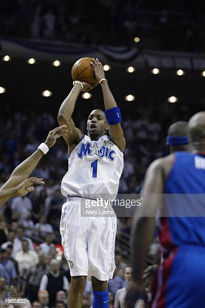 Tracy McGrady of the Orlando Magic shoots a jump shot in Game three of the Eastern Conference Quarterfinals against the Detroit Pistons during the...