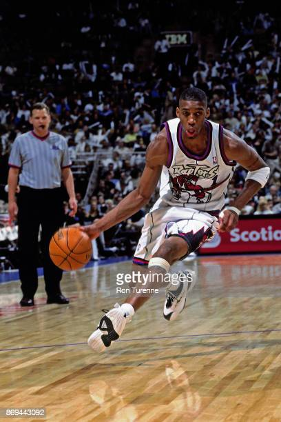 Tracy McGrady of the Toronto Raptors drives circa 1999 at the Air Canada Centre in Toronto Ontario NOTE TO USER User expressly acknowledges and...