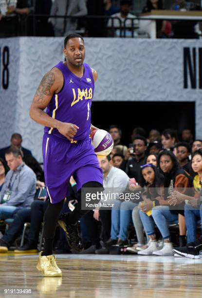Tracy McGrady plays during the NBA AllStar Celebrity Game 2018 presented by Ruffles at Verizon Up Arena at LACC on February 16 2018 in Los Angeles...