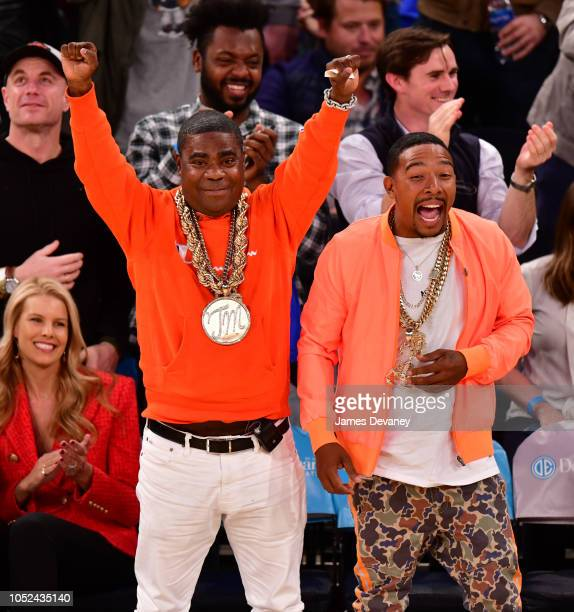 Tracy Morgan and Allen Maldonado attend the New York Knicks vs Atlanta Hawks game at Madison Square Garden on October 17 2018 in New York City