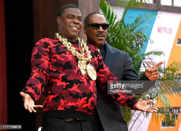 """Tracy Morgan and Eddie Murphy attend the LA premiere of Netflix's """"Dolemite Is My Name"""" at Regency Village Theatre on September 28, 2019 in Westwood,..."""