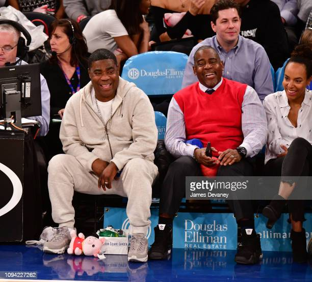 Tracy Morgan and guest attend Detroit Pistons v New York Knicks game at Madison Square Garden on February 5 2019 in New York City