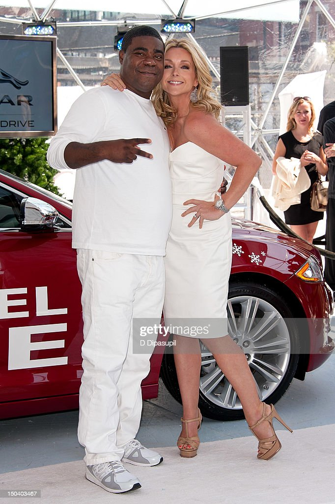 Tracy Morgan (L) and Jane Krakowski attend the opening of Jaguar's 'Chill NY' at High Line Park on August 16, 2012 in New York City.