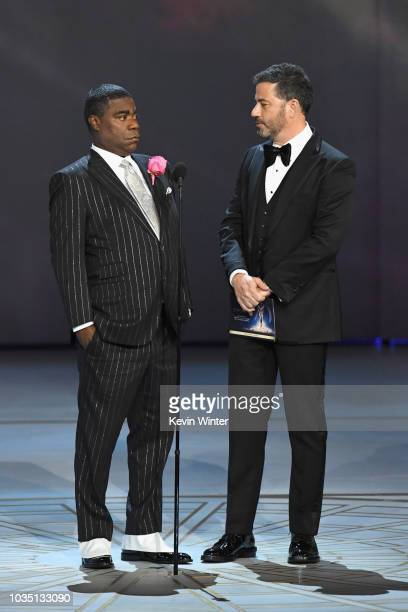 Tracy Morgan and Jimmy Kimmel speak onstage during the 70th Emmy Awards at Microsoft Theater on September 17 2018 in Los Angeles California