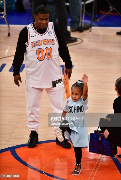 Tracy Morgan and Maven Morgan attend the New York Knicks Vs Golden State Warriors game at Madison Square Garden on February 26 2018 in New York City