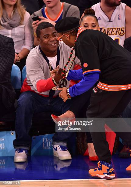 Tracy Morgan and Spike Lee attend New York Knicks vs Los Angeles Lakers game at Madison Square Garden on November 8, 2015 in New York City.