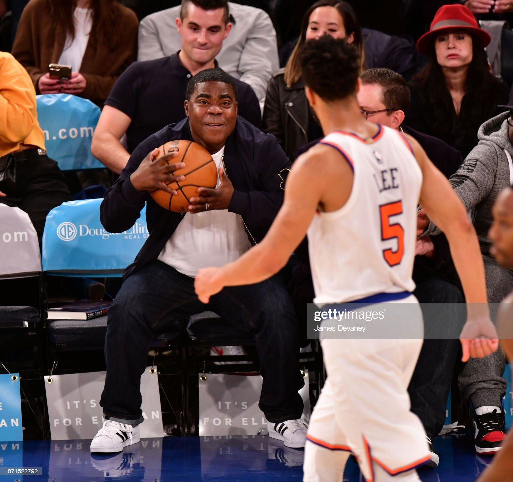 Tracy Morgan looked ready to join the Knicks when he caught the ball at Tuesday night's game against the Charlotte Hornets.