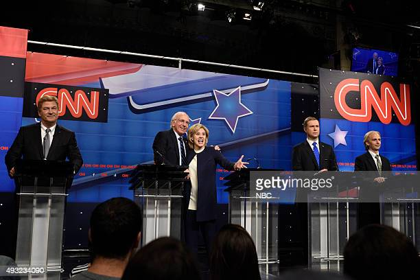 "Tracy Morgan"" Episode 1686 -- Pictured: Alec Baldwin as Jim Webb, Larry David as Bernie Sanders, Kate McKinnon as Hillary Clinton, Taran Killam as..."