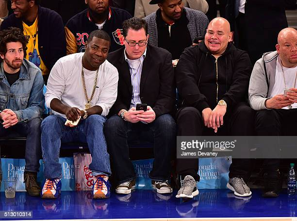 Tracy Morgan, guest and Fat Joe attend the Miami Heat vs New York Knicks game at Madison Square Garden on February 28, 2016 in New York City.