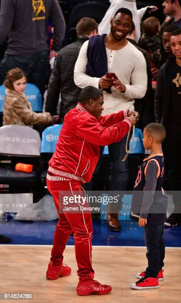 Tracy Morgan Jayce Tuck and Justin Tuck attend the New York Knicks vs Atlanta Hawks game at Madison Square Garden on February 4 2018 in New York City