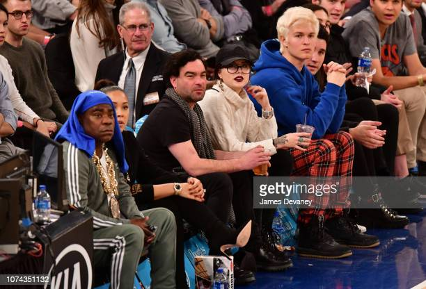 Tracy Morgan Johnny Galecki Alaina Meyer and Ansel Elgort attend the Phoenix Suns v New York Knicks game at Madison Square Garden on December 17 2018...