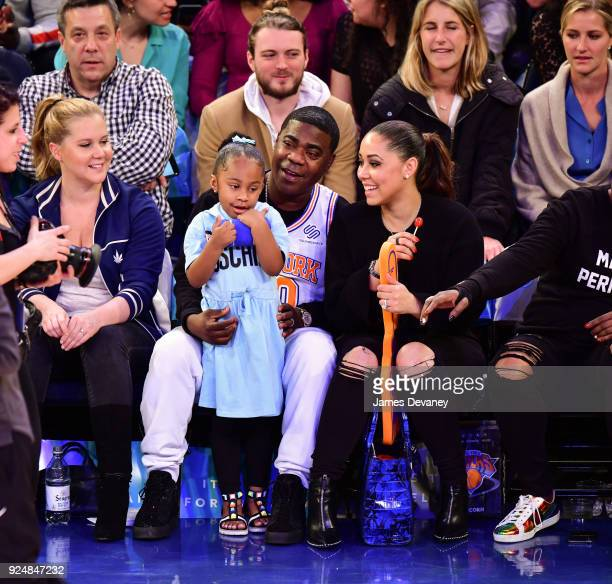 Tracy Morgan Maven Morgan and Megan Wollover attend the New York Knicks Vs Golden State Warriors game at Madison Square Garden on February 26 2018 in...