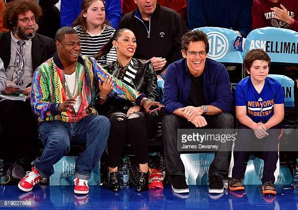 Tracy Morgan Megan Morgan Ben Stiller and Quinlin Stiller attend the Indiana Pacers vs New York Knicks game at Madison Square Garden on April 3 2016...