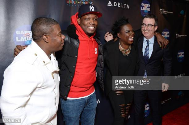 Tracy Morgan Michael Che Leslie Jones and John Oliver attend the 2017 Garden of Laughs at Madison Square Garden on March 28 2017 in New York City