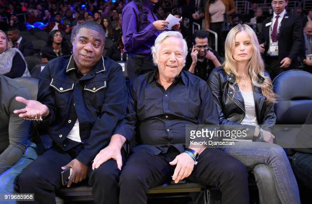 Tracy Morgan New England Patriots owner Robert Kraft and Ricki Noel Lander attend the 2018 Taco Bell Skills Challenge at Staples Center on February...